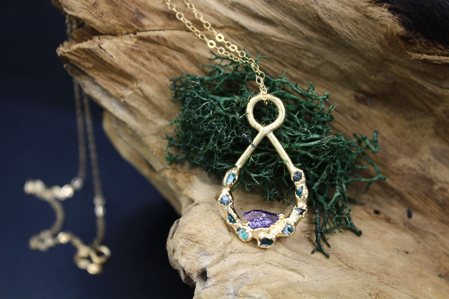 Amethyst & Emerald Teardrop Necklace-Necklace-The Fox And Stone