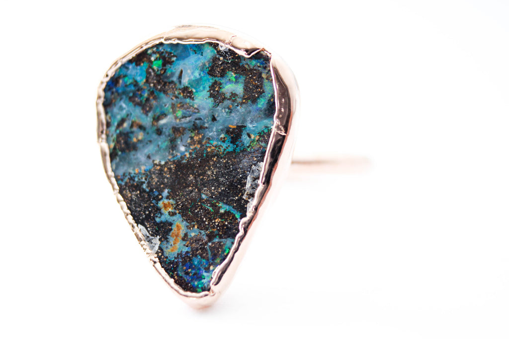 Raw boulder opal engagement ring alternative bridal jewelry by foxandstone custom jewelry