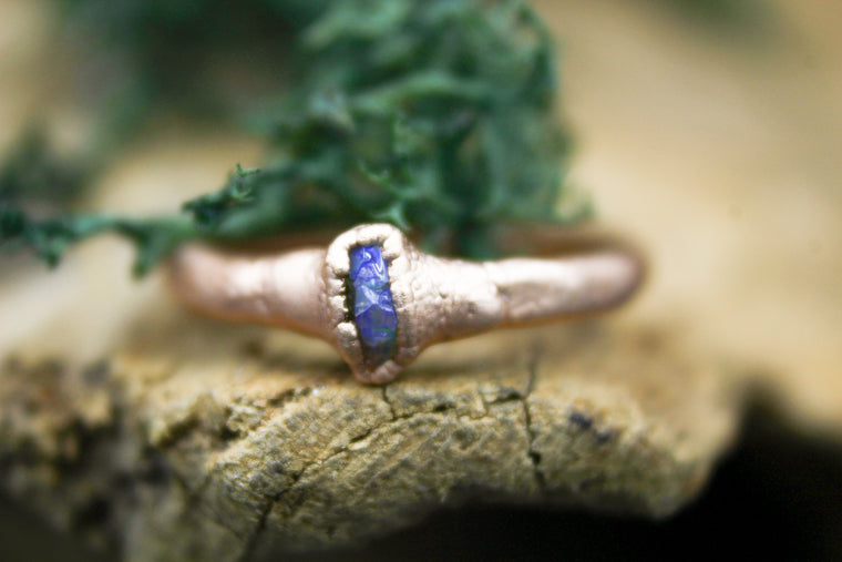 Australian Opal Chip Ring in Rose Gold