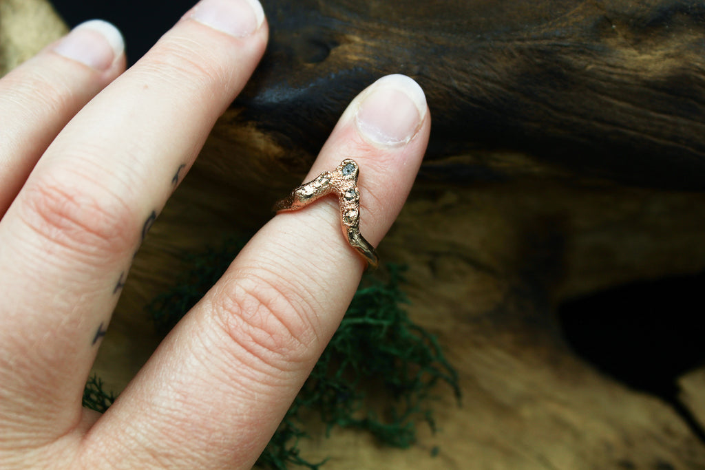 Ethical Raw Diamond Chevron Ring in Gold