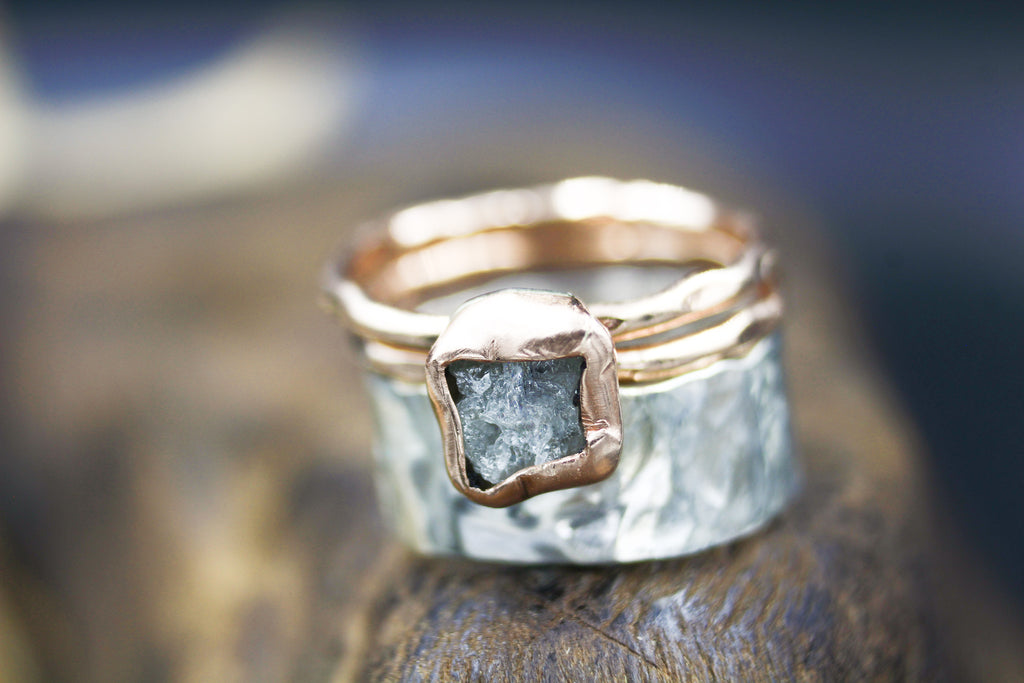 Wide Hammered Band Silver & Rose Gold Diamond Statement Ring
