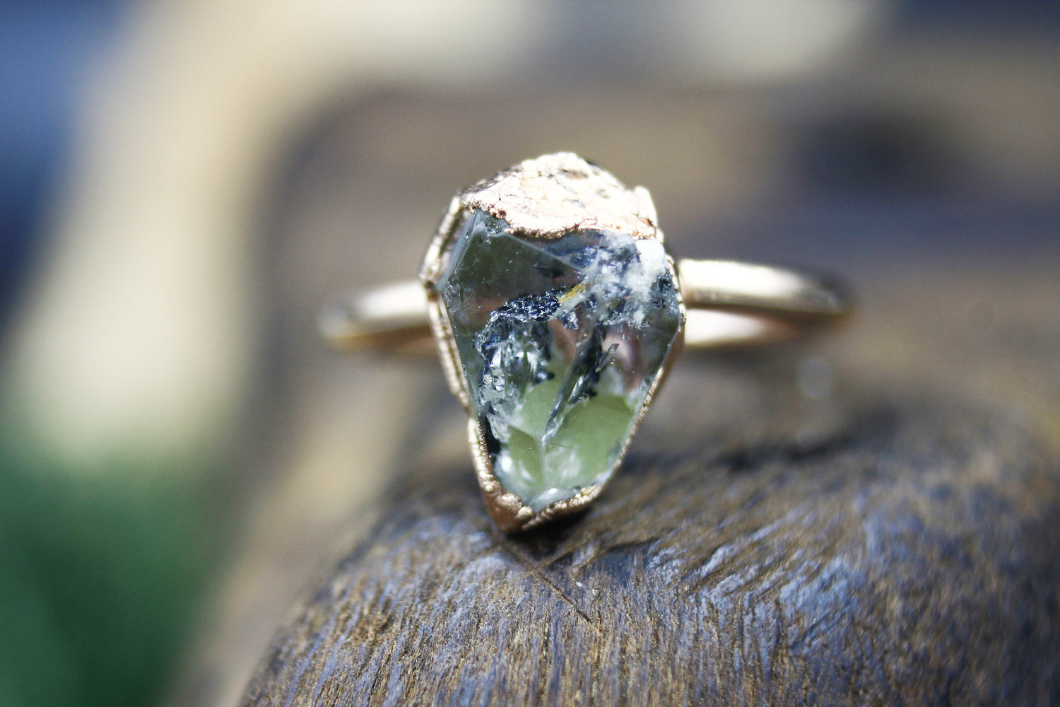 Highly Inclusive Herkimer Diamond Engagement Ring in Rose Gold