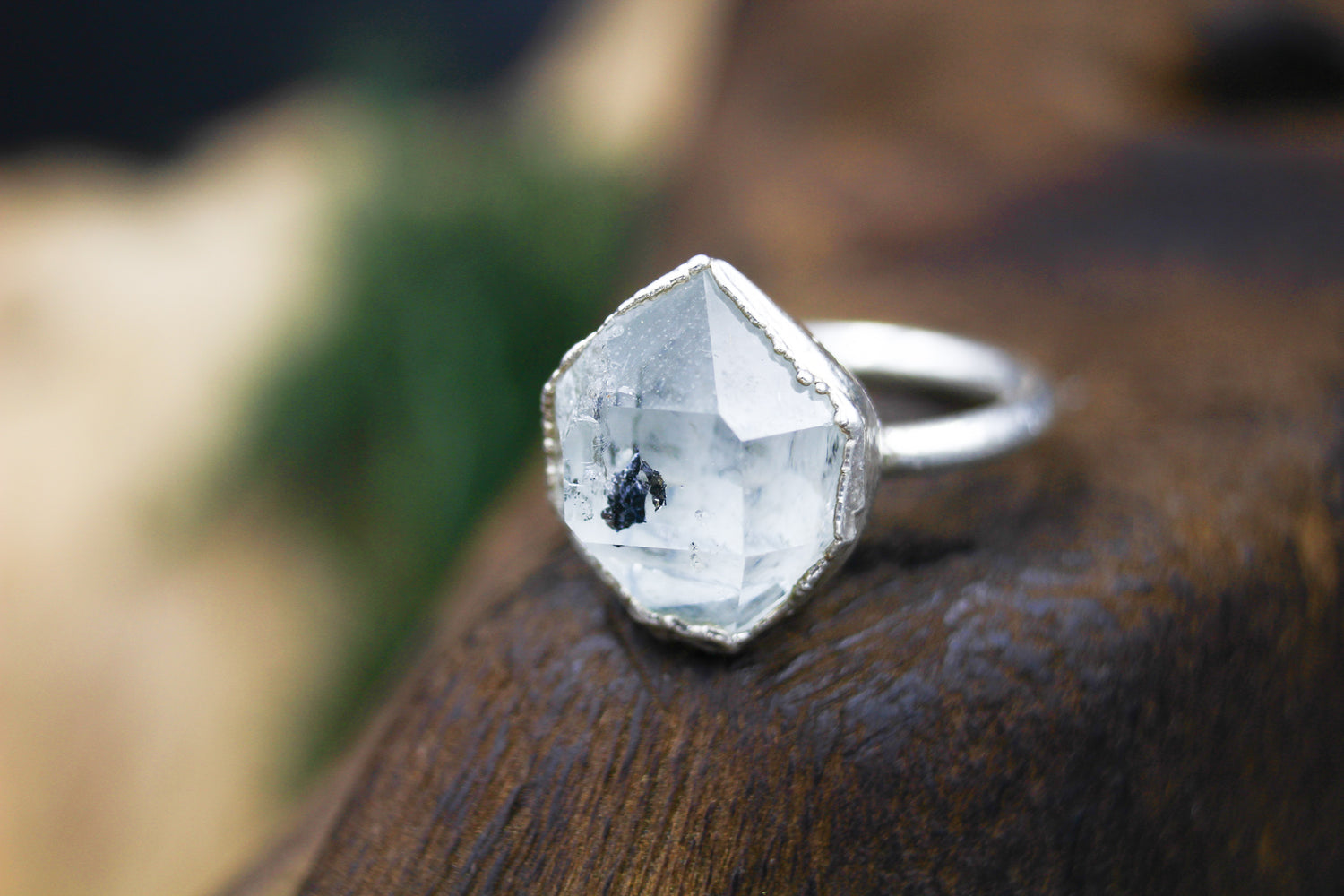 Inclusive Herkimer Diamond Engagement Ring in Silver