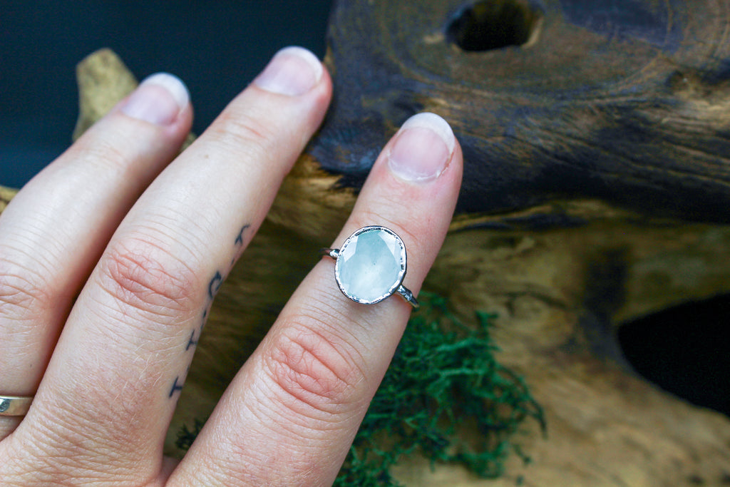 Sage Quartz Engagement Ring in Silver