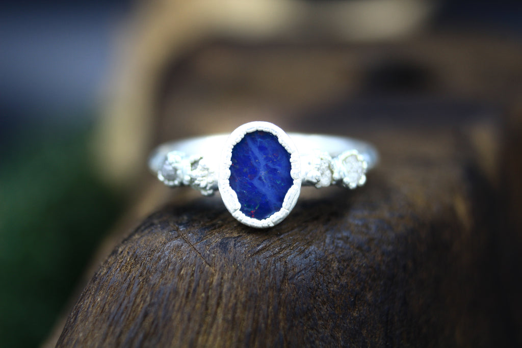Australian Opal Sea Engagement Ring in Silver
