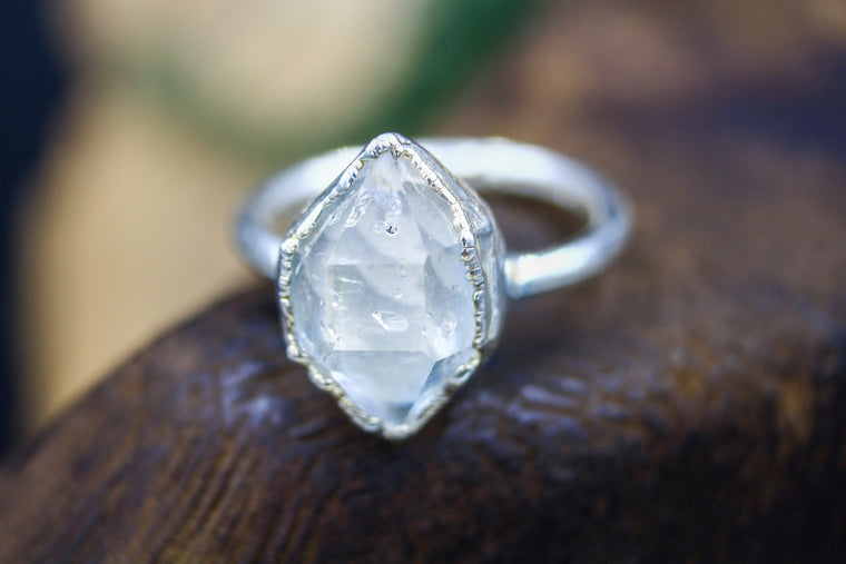 Large Herkimer Engagement Ring in Silver
