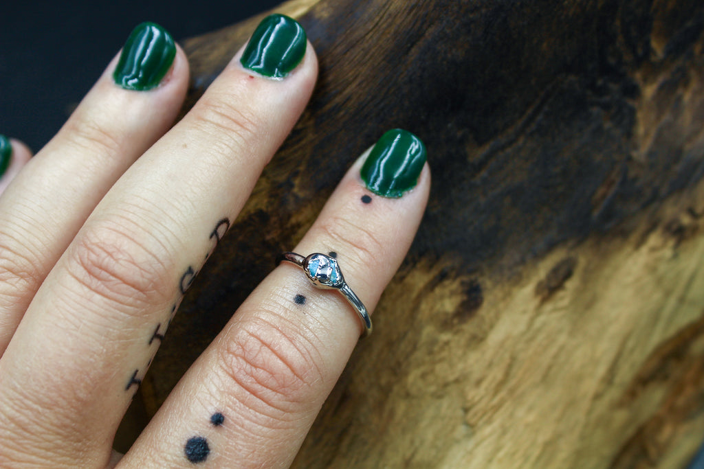 Turquoise Chip Ring in Rhodium
