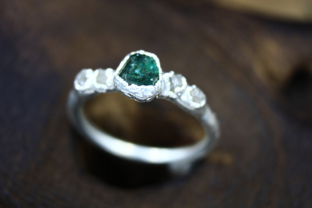 Emerald Sea Engagement Ring in Silver