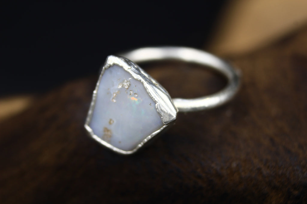 Australian Crystal Opal Engagement Ring in Silver