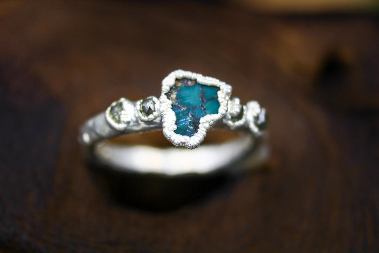 Turquoise Sea Engagement Ring in Silver
