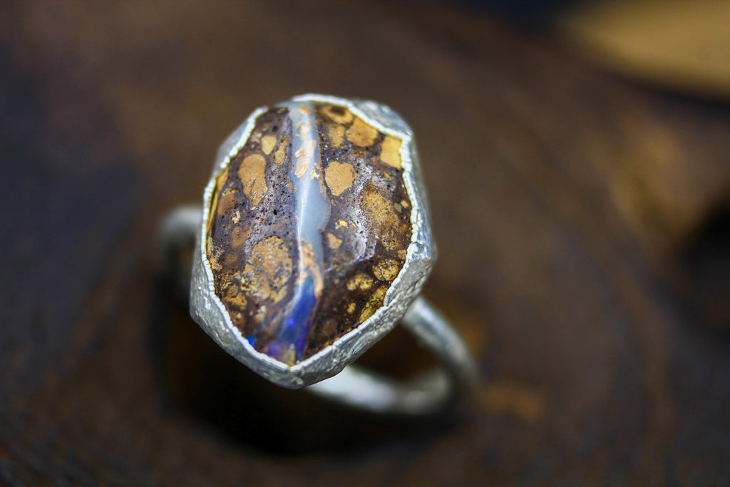 Boulder Opal Engagement Ring in Silver I