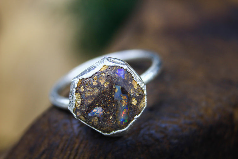Boulder Opal Engagement Ring in Silver II