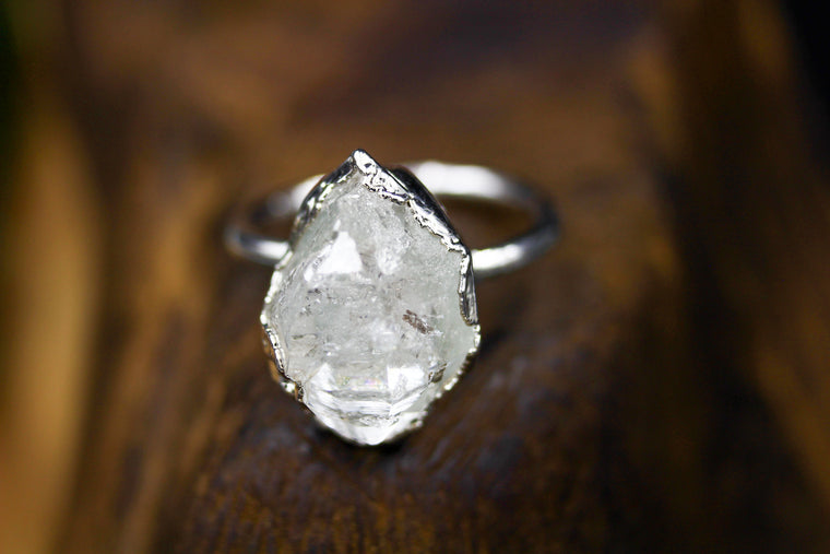 Giant Double Herkimer Engagement Ring in Silver