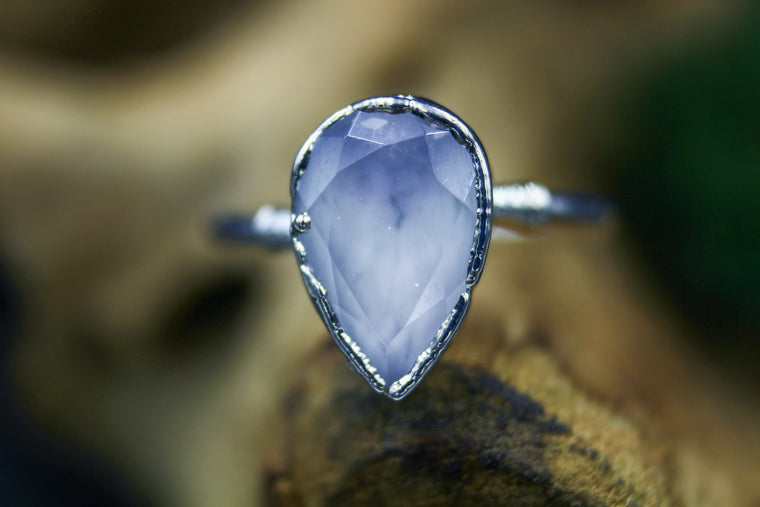 Lavender Quartz Engagement Ring in Silver