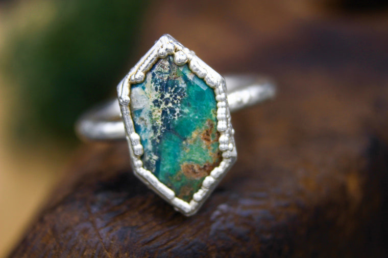 Turquoise Engagement Ring in Bare Fine Silver