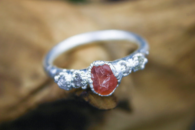 Pink Spinel Sea Engagement Ring in Bare Fine Silver