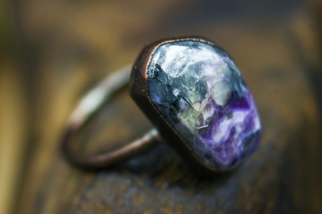 Charoite Engagement Ring in Rose Gold