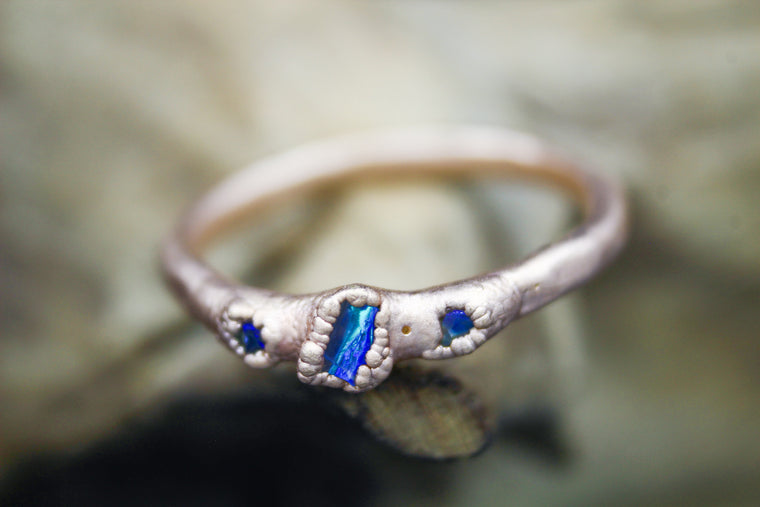 Australian Opal Chip Engagement Ring in Rose Gold