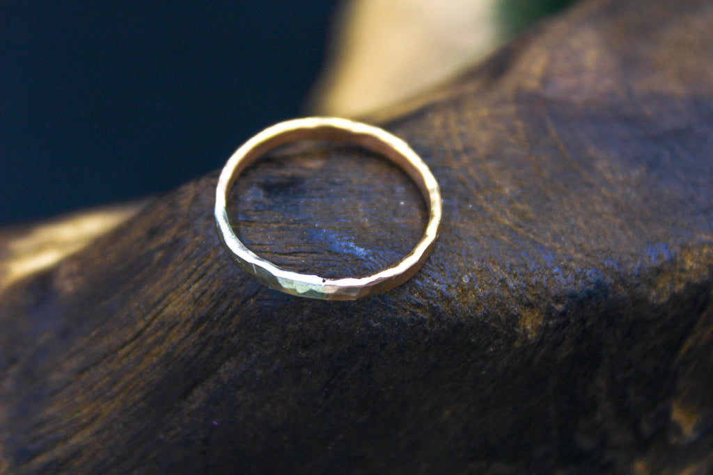 14k White & Rose Gold Hammered Band