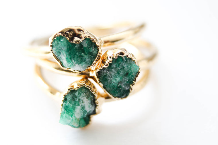 Natural Rough Emerald Engagement Ring