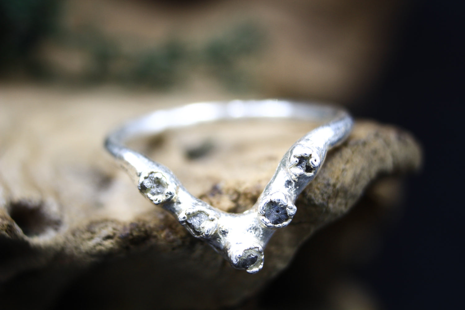Raw Diamond Chevron Band in Bare Fine Silver