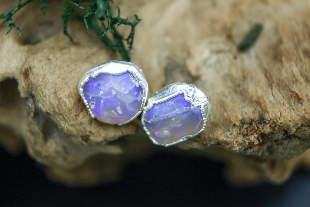 Opal Post Earrings in Fine Silver
