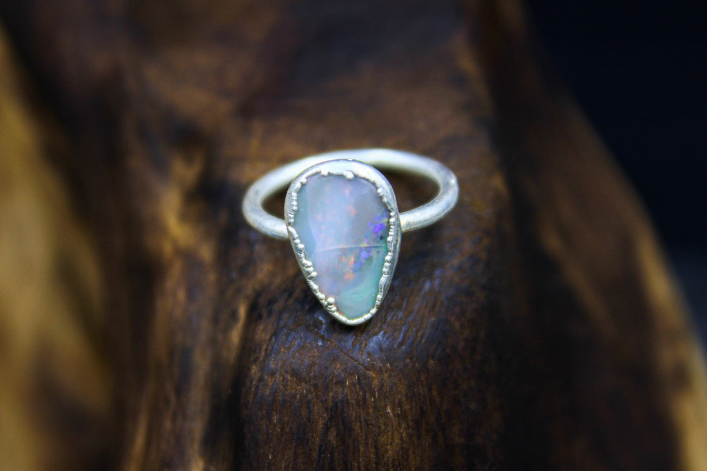 Flashy Australian Crystal Opal Engagement Ring in Silver