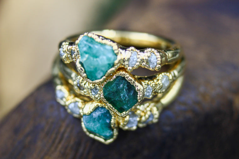Emerald Sea - Emerald & Ethical Raw Diamond Engagement Ring