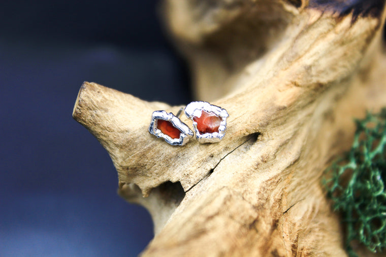 Carnelian Post Earrings in Rhodium