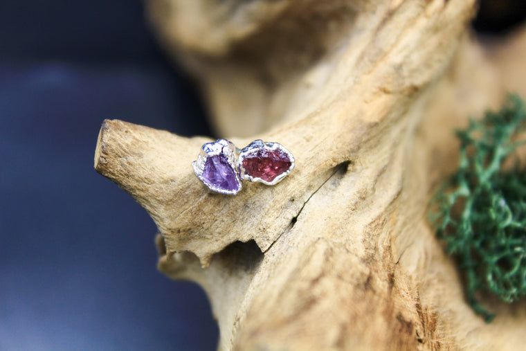 Amethyst Post Earrings in Rhodium