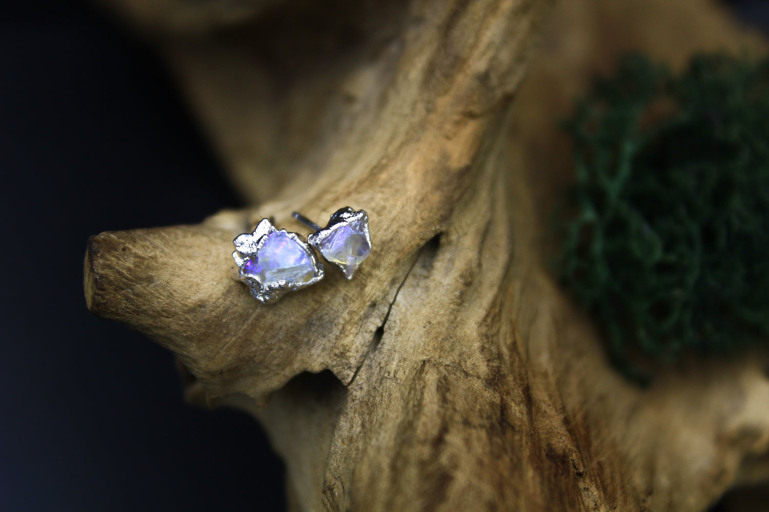 Rough Opal Post Earrings in Rhodium I