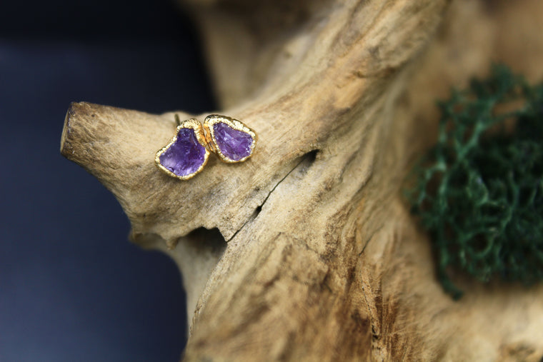 Amethyst Post Earrings in Yellow Gold