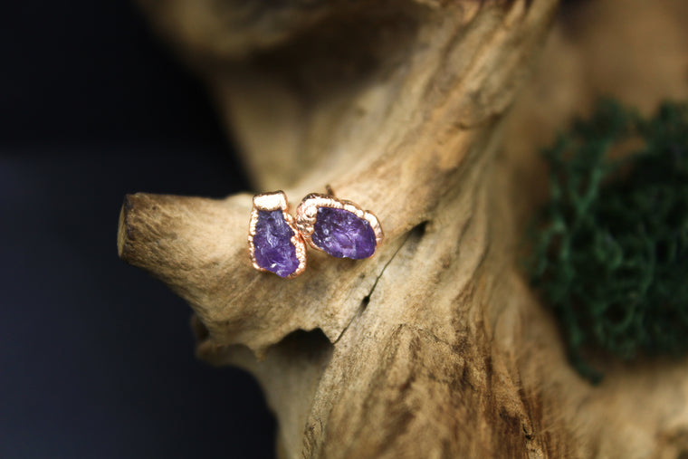 Amethyst Post Earrings in Rose Gold