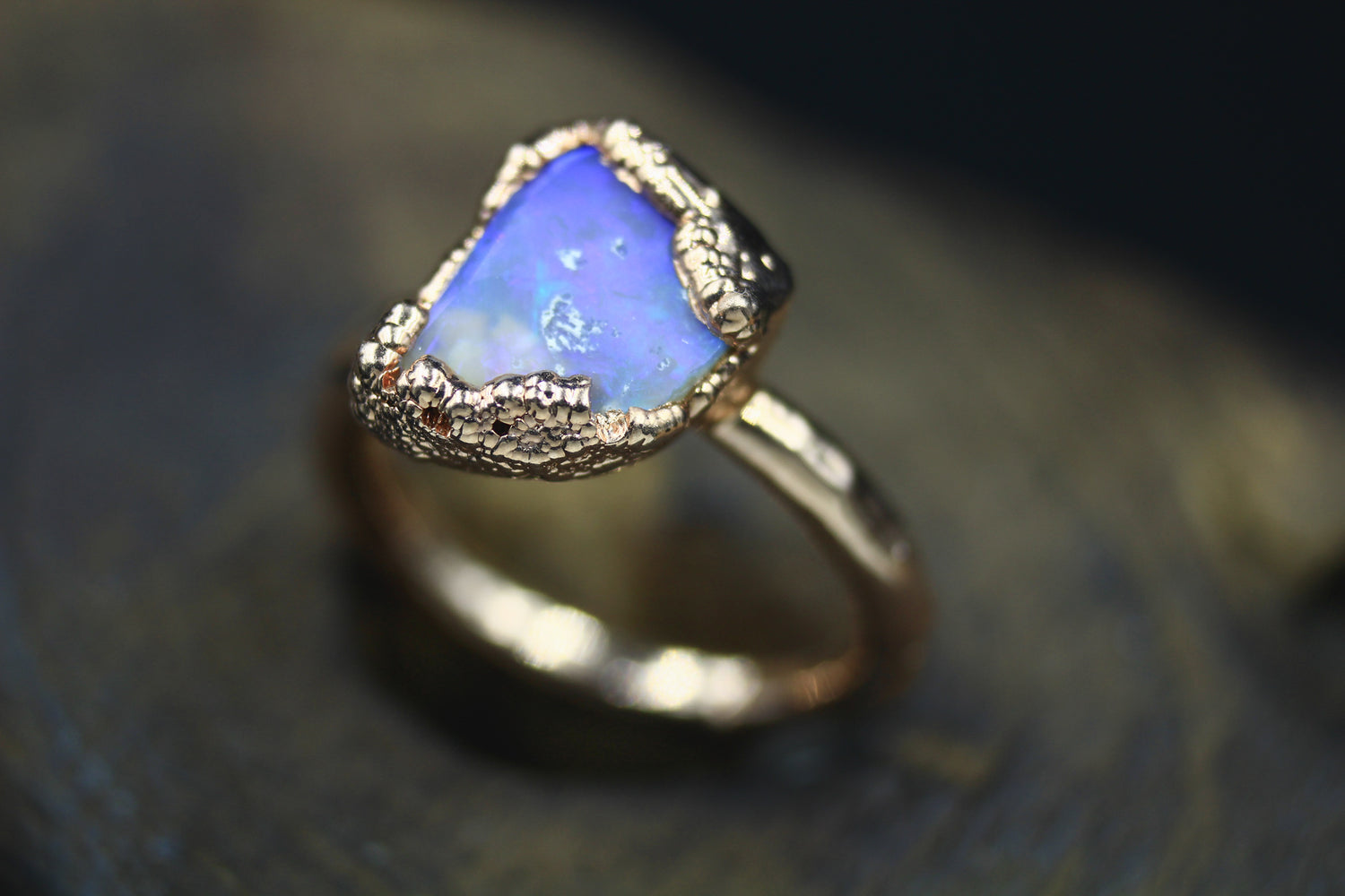 raw gemstone ring, Astralian opal, 24k Yellow Gold