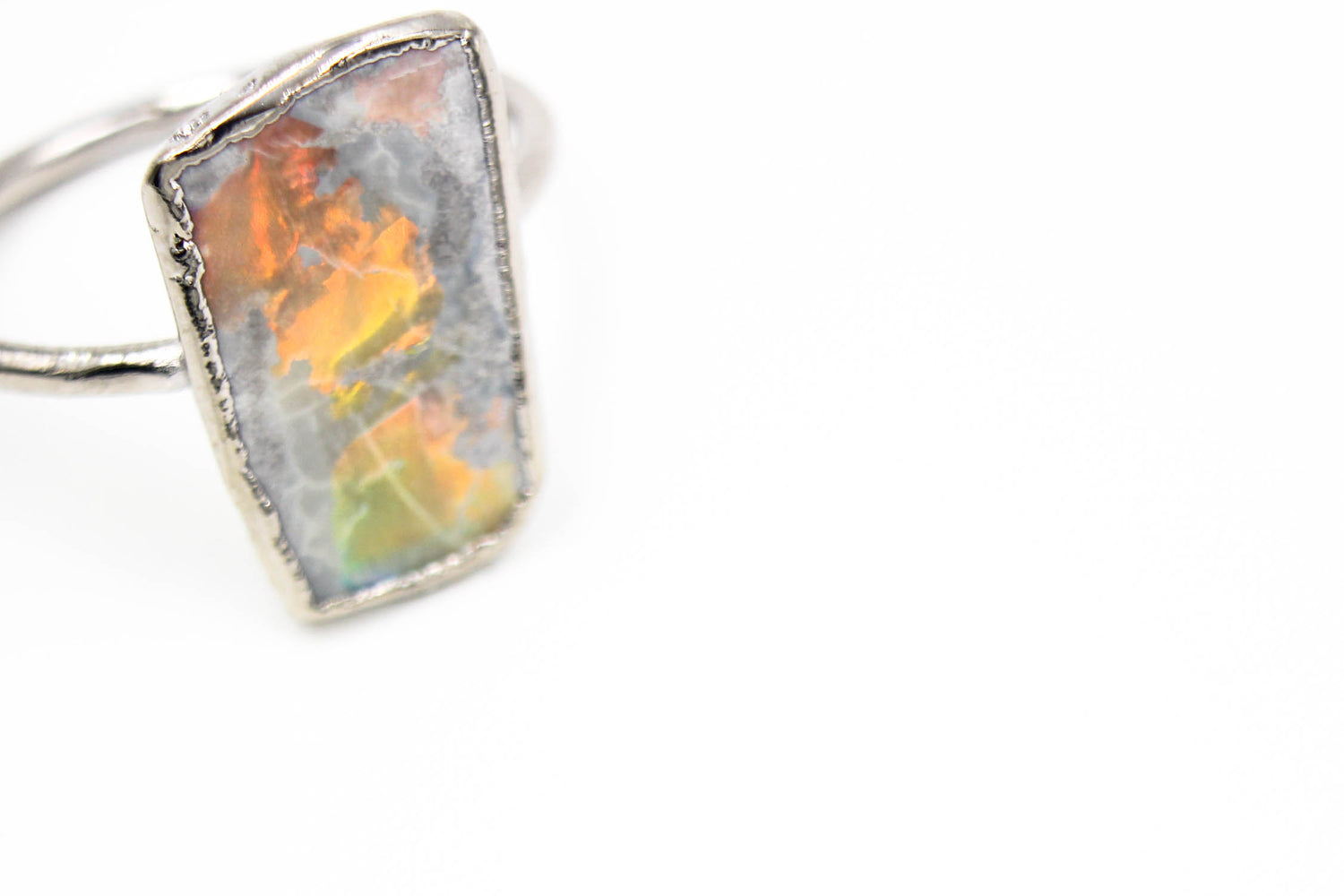 raw opal ring, organic engagement ring, non-traditional wedding ring, australian opal, raw stone engagement ring