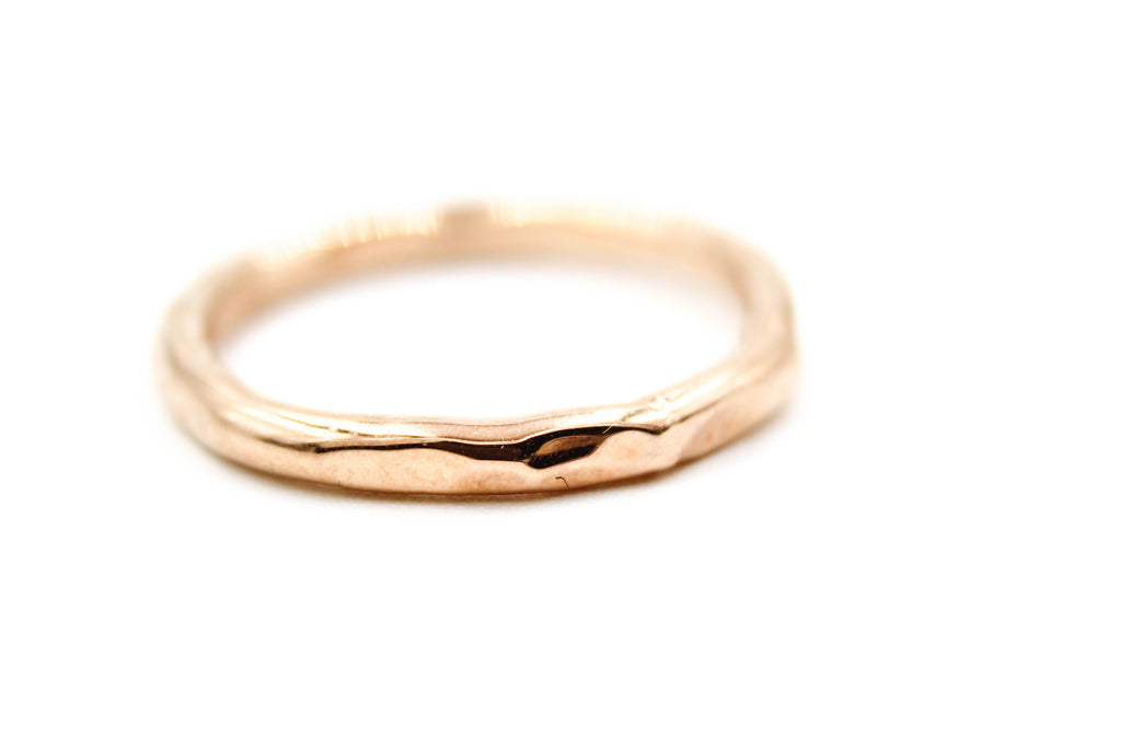 Rustic Gold Artisan Hammered Wedding Band by Fox & Stone