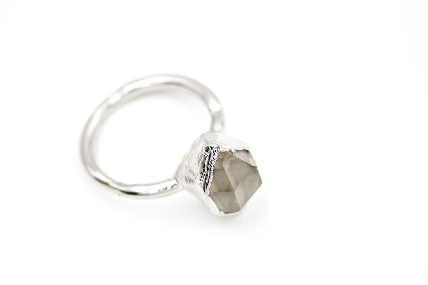 diamond alternative engagement ring non traditional raw crystal
