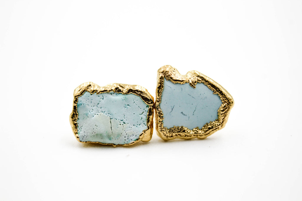 raw gemstone earrings, electroformed, turquoise, 24k yellow gold, 18k rose gold, rhodium