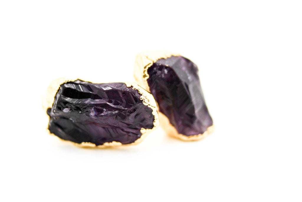 raw gemstone earrings, electroformed, amethyst, 24k yellow gold, 18k rose gold, rhodium