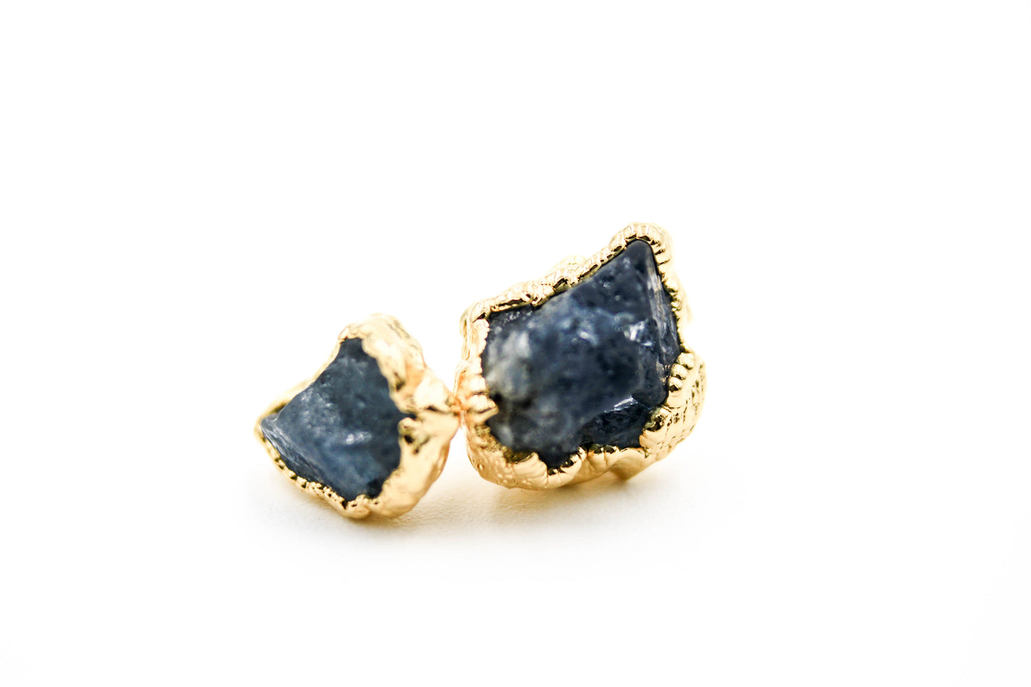 raw gemstone earrings, electroformed, sapphire, 24k yellow gold, 18k rose gold, rhodium