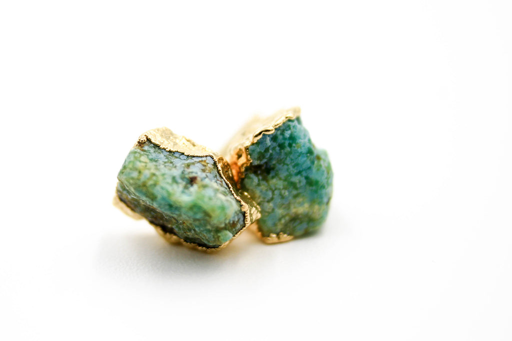 raw gemstone earrings, electroformed, Emerald, 24k yellow gold, 18k rose gold, rhodium