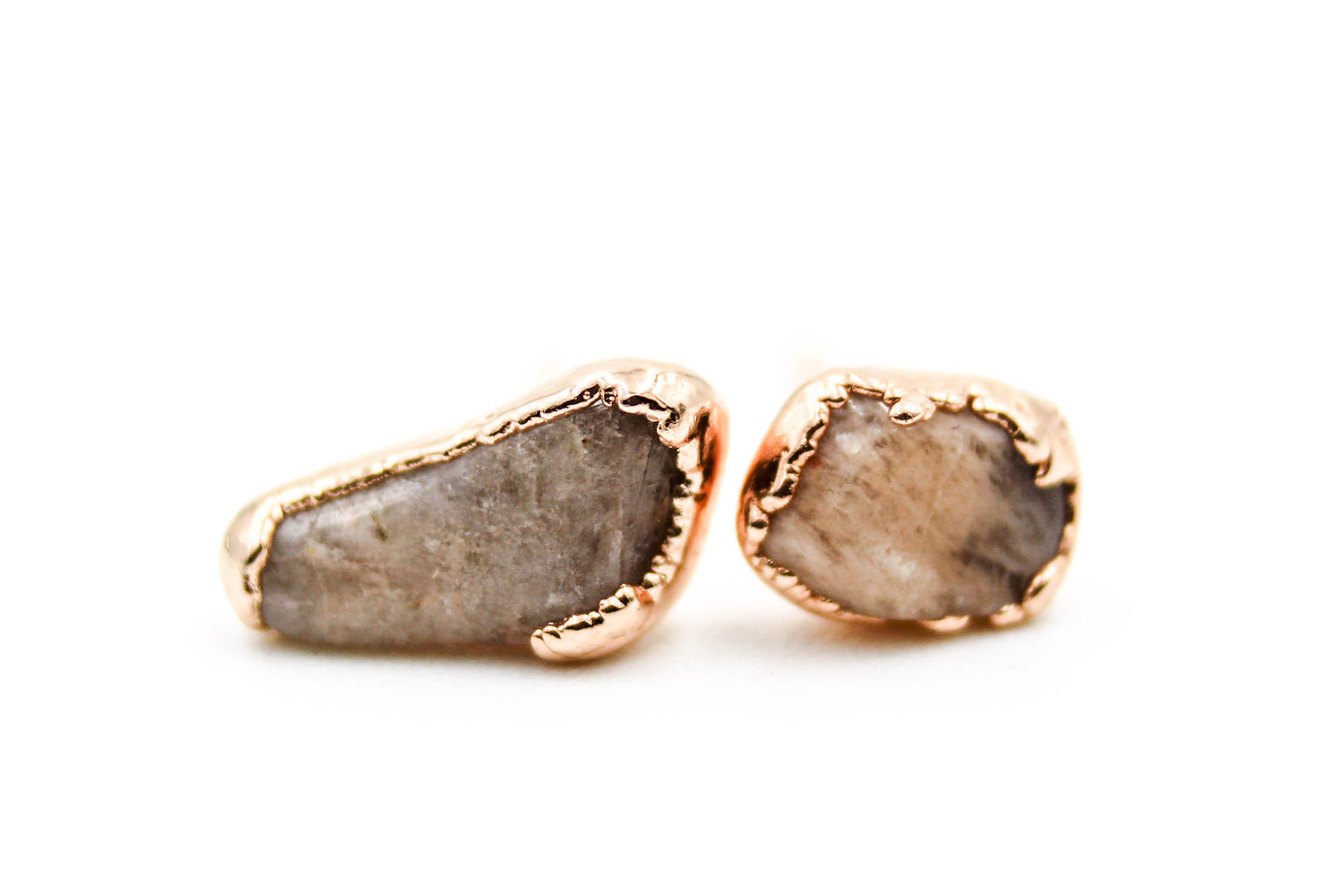 raw gemstone earrings, electroformed, moonstone, 24k yellow gold, 18k rose gold, rhodium