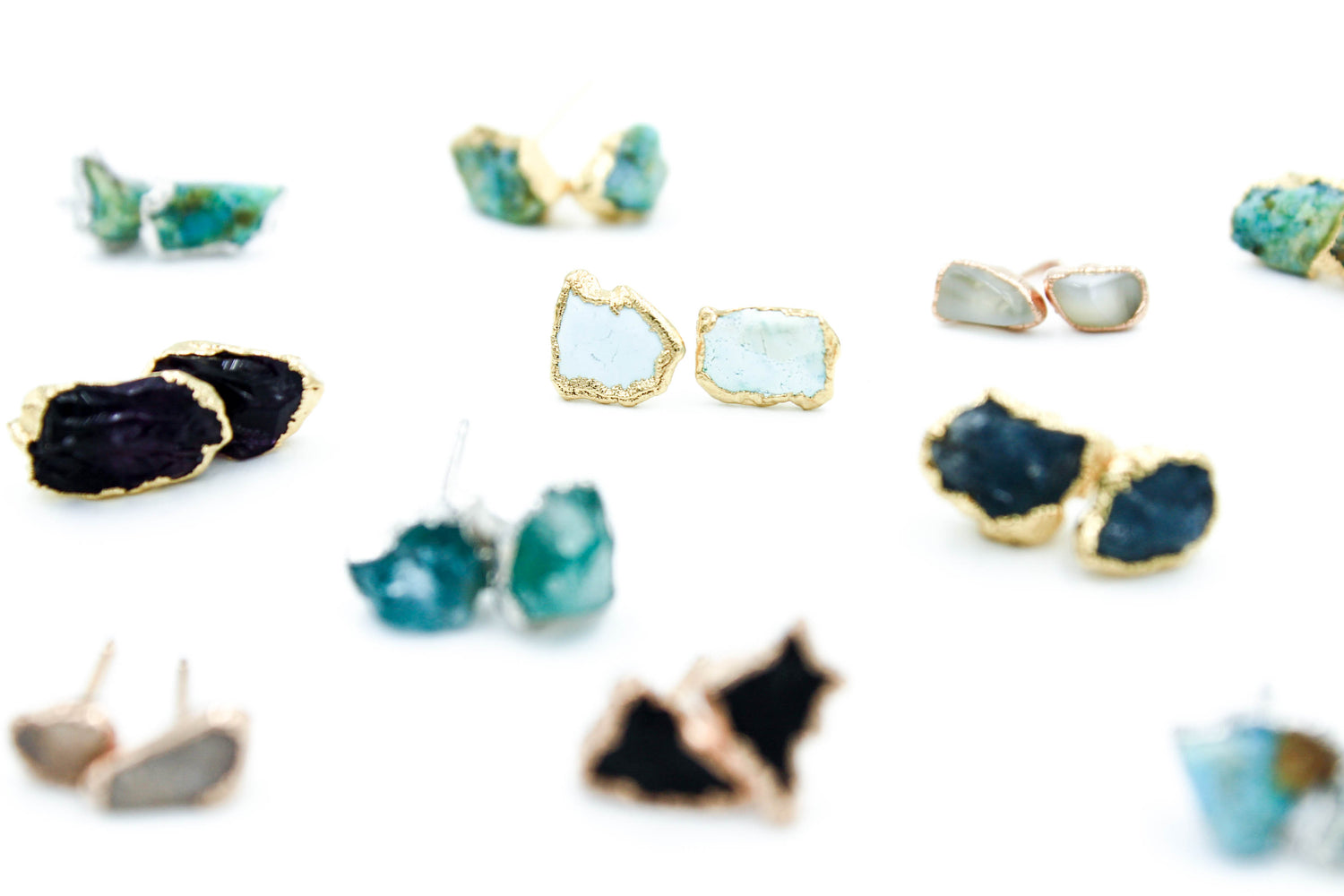 raw gemstone earrings, electroformed, emerald, turquoise, blue apatite, black tourmaline, pink tourmaline, rose quartz, moonstone, amethyst, sapphire, garnet, opal, diamond, herkimer diamond, 24k yellow gold, 18k rose gold, rhodium
