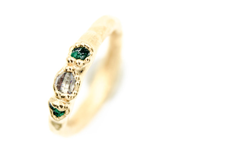Herkimer Diamond & Emerald Engagement Ring II