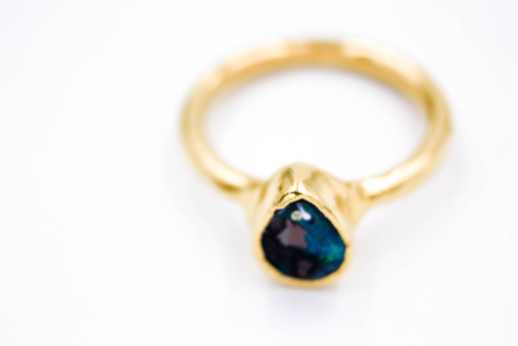 raw gemstone ring, Boulder Opal, 24k Yellow Gold