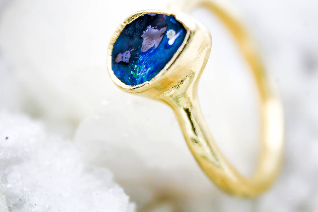 Boulder Opal Alternative engagement ring raw gemstone wedding ring by fox and stone jewelry