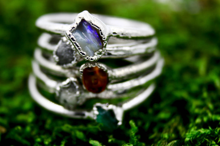 Rough Gemstone Stacking Rings - Copper Based
