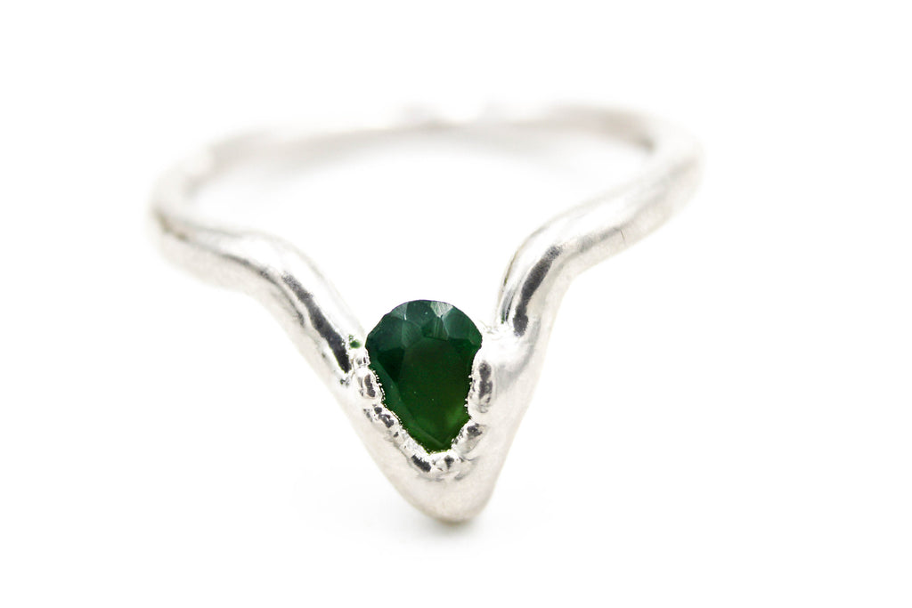 raw gemstone ring, emerald
