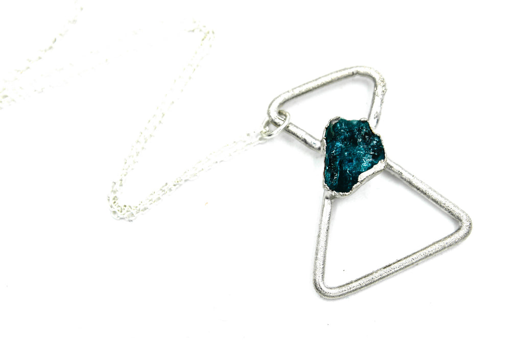 blue apatite geometric hourglass necklace in silver by fox and stone bohemian crystals