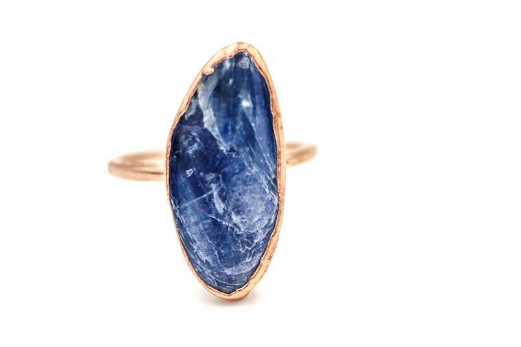 Polished Blue Kyanite Ring
